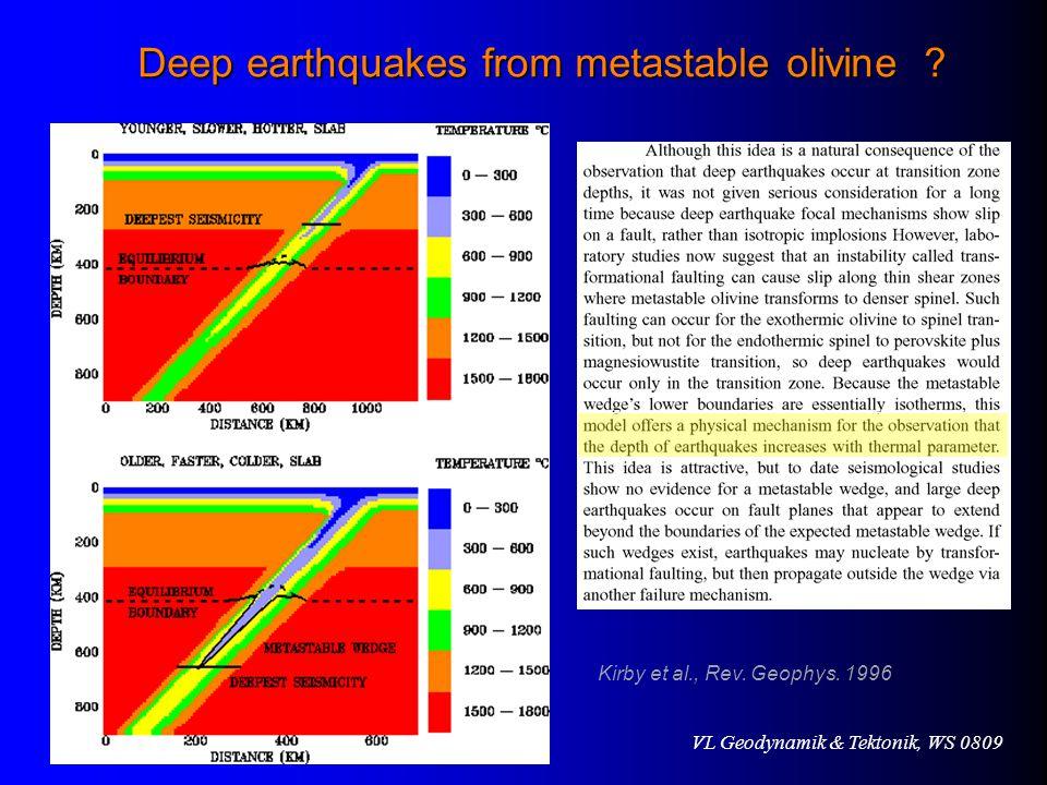 VL Geodynamik & Tektonik, WS 0809 Deep earthquakes from metastable olivine .