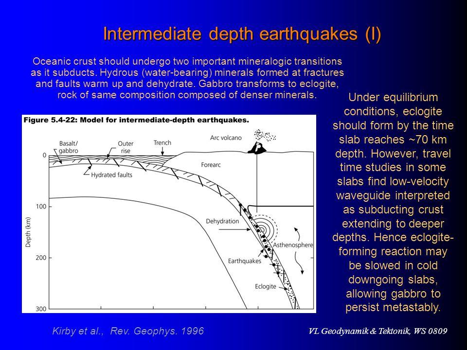 VL Geodynamik & Tektonik, WS 0809 Intermediate depth earthquakes (I) Under equilibrium conditions, eclogite should form by the time slab reaches ~70 km depth.
