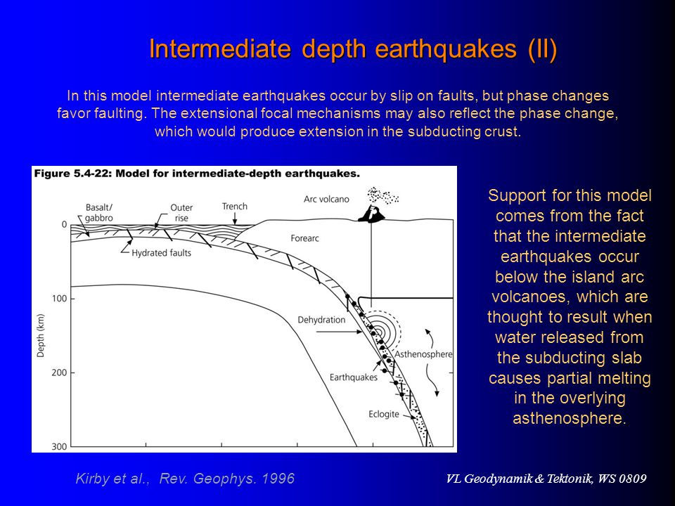 VL Geodynamik & Tektonik, WS 0809 Intermediate depth earthquakes (II) Support for this model comes from the fact that the intermediate earthquakes occur below the island arc volcanoes, which are thought to result when water released from the subducting slab causes partial melting in the overlying asthenosphere.