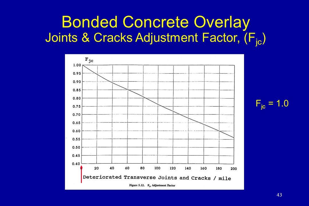 43 Bonded Concrete Overlay Joints & Cracks Adjustment Factor, (F jc ) F jc = 1.0