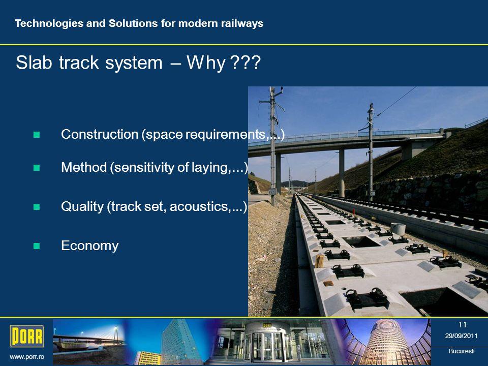 www.porr.ro 29/09/2011 Bucuresti 11 Slab track system – Why .