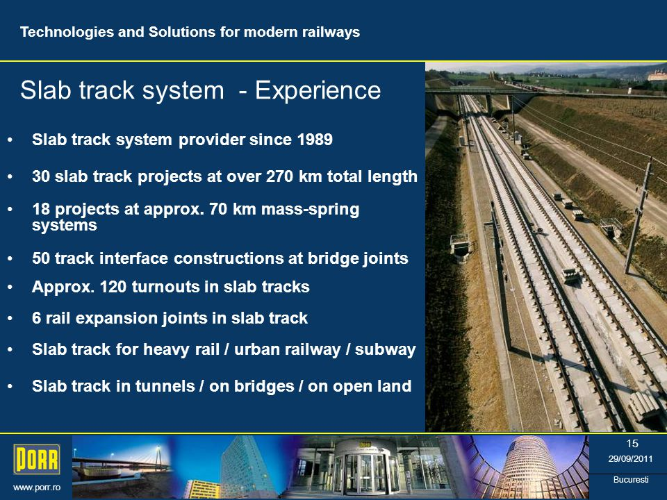 www.porr.ro 29/09/2011 Bucuresti 15 Slab track system provider since 1989 18 projects at approx.