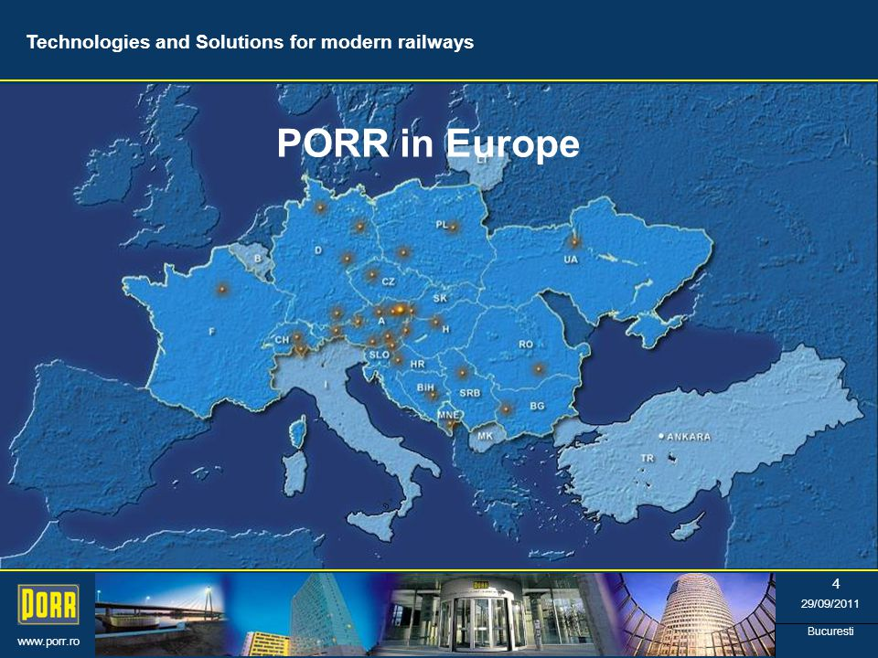 www.porr.ro 29/09/2011 Bucuresti 5 Structure of PORR Group *) Industrial leadership Technologies and Solutions for modern railways