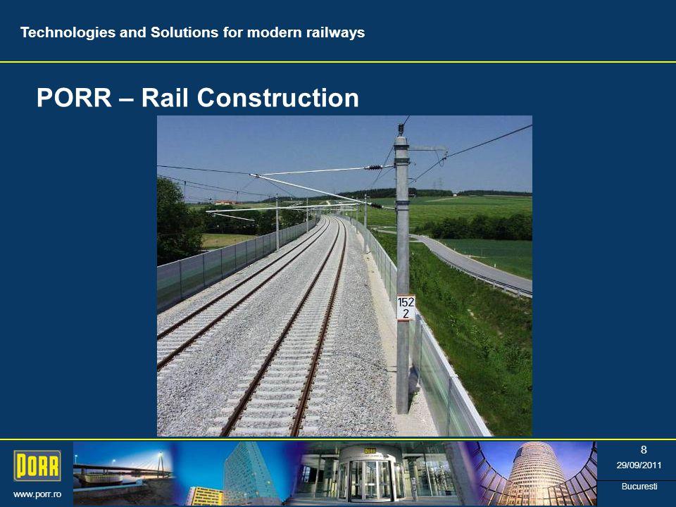 www.porr.ro 29/09/2011 Bucuresti 8 PORR – Rail Construction Technologies and Solutions for modern railways