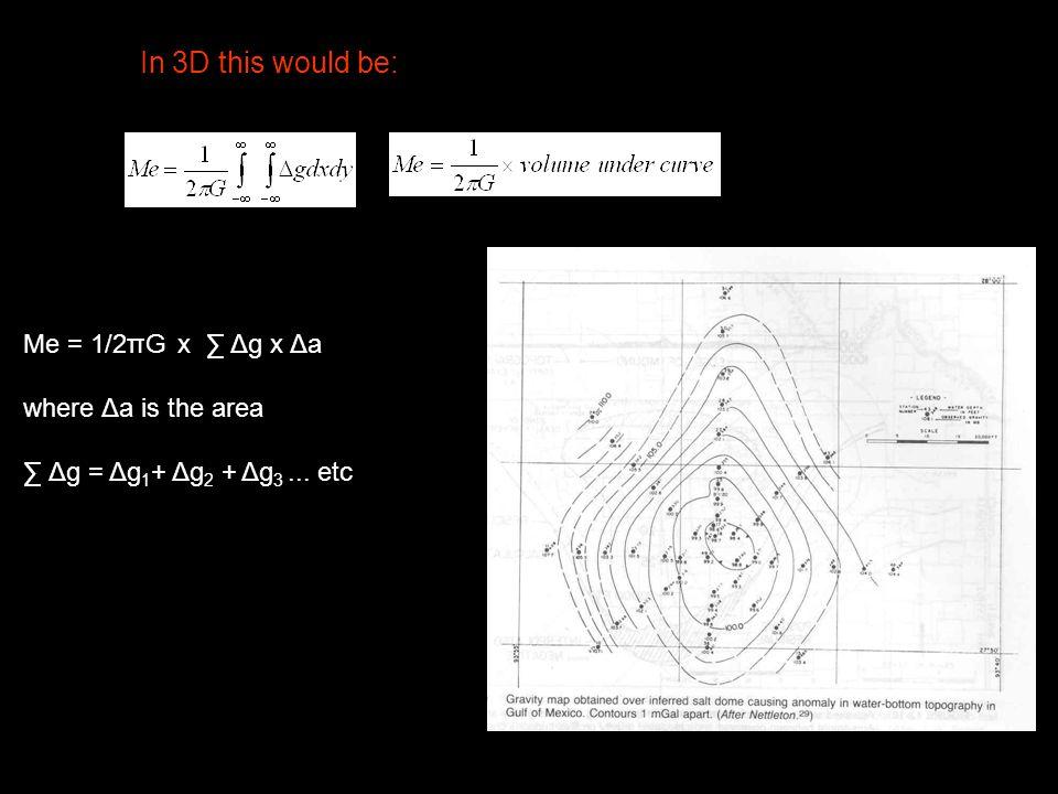 In 3D this would be: Me = 1/2πG x ∑ Δg x Δa where Δa is the area ∑ Δg = Δg 1 + Δg 2 + Δg 3... etc