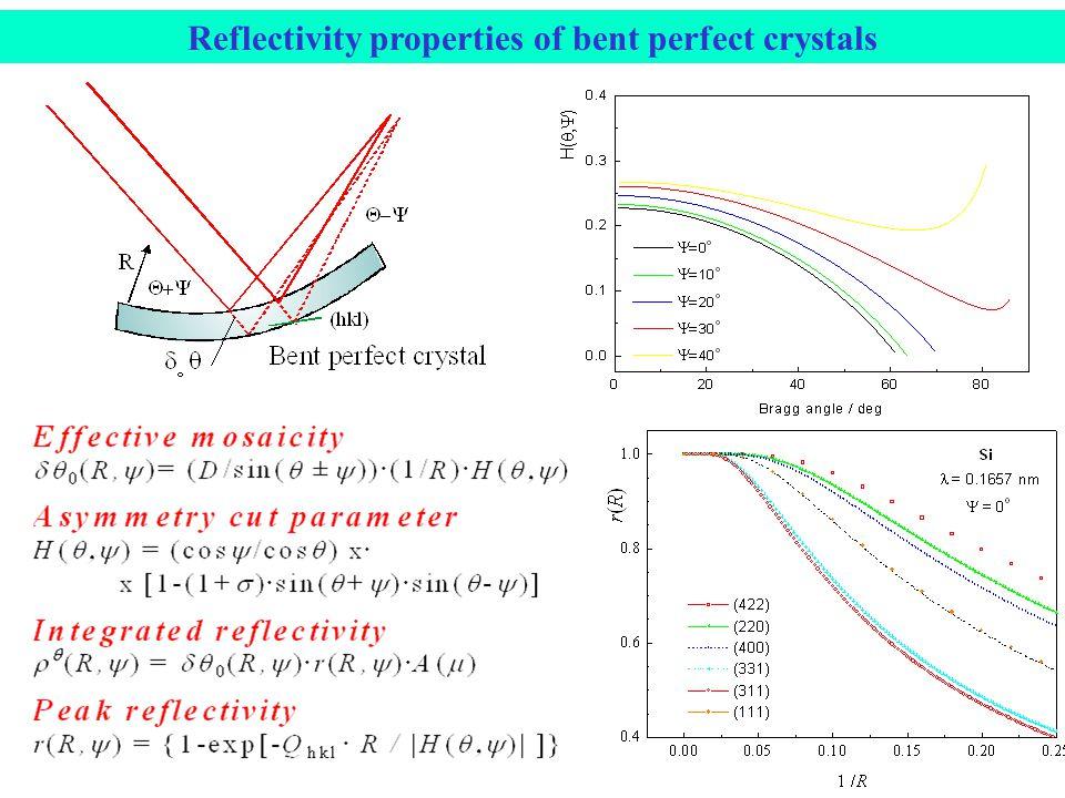 Reflectivity properties of bent perfect crystals