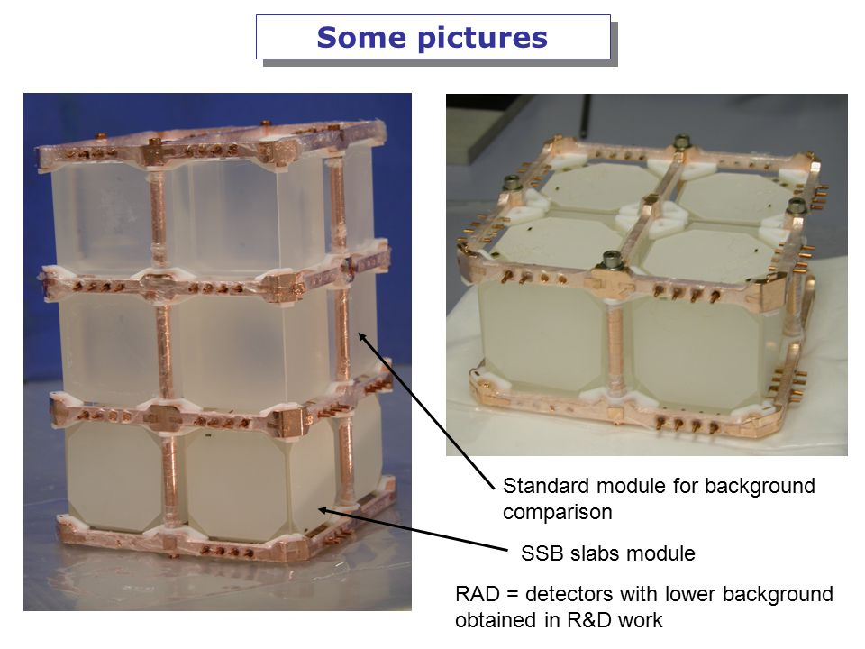 Marisa Pedretti Some pictures SSB slabs module Standard module for background comparison RAD = detectors with lower background obtained in R&D work