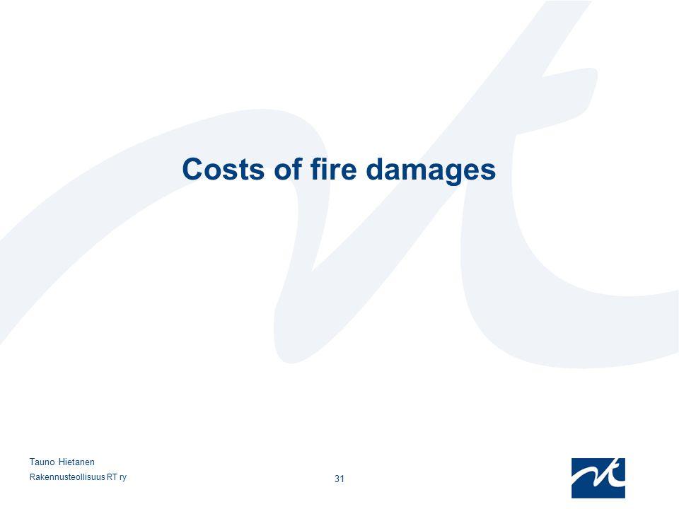 Rakennusteollisuus RT ry 31 Tauno Hietanen Costs of fire damages