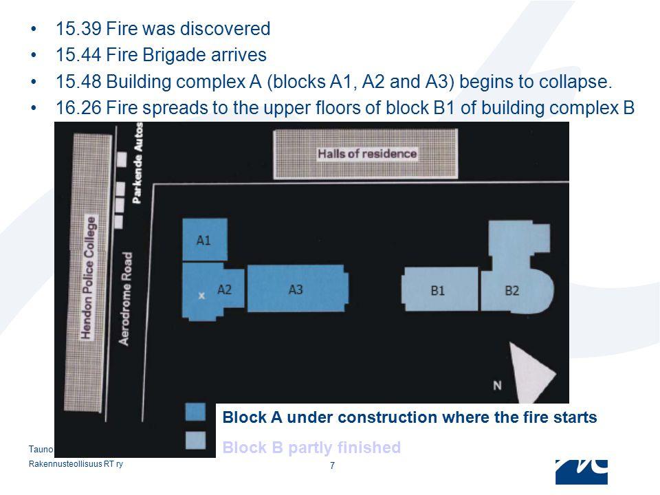 Rakennusteollisuus RT ry 7 Tauno Hietanen 15.39 Fire was discovered 15.44 Fire Brigade arrives 15.48 Building complex A (blocks A1, A2 and A3) begins