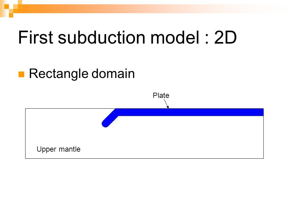 First subduction model : 2D Rectangle domain Plate Upper mantle