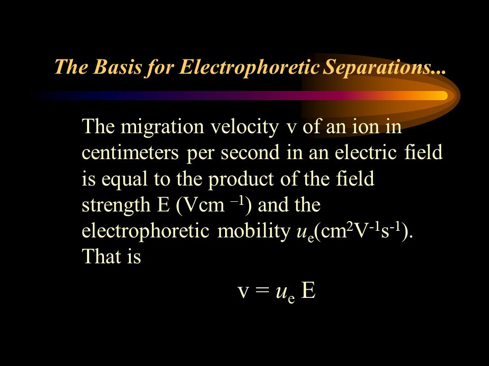 The Basis for Electrophoretic Separations...