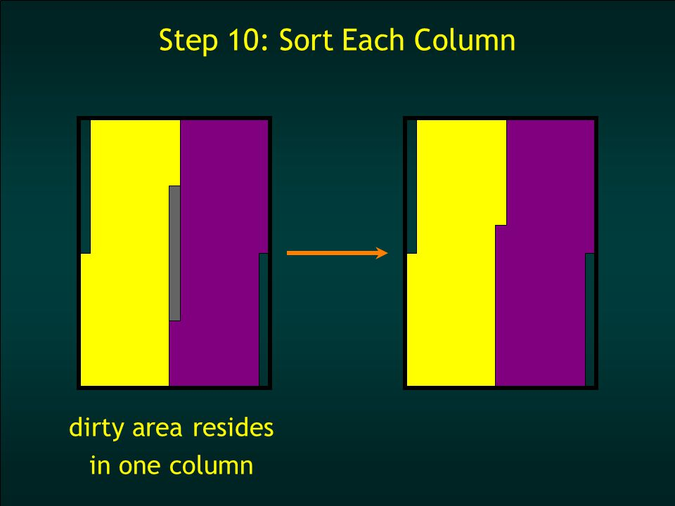 Step 10: Sort Each Column dirty area resides in one column