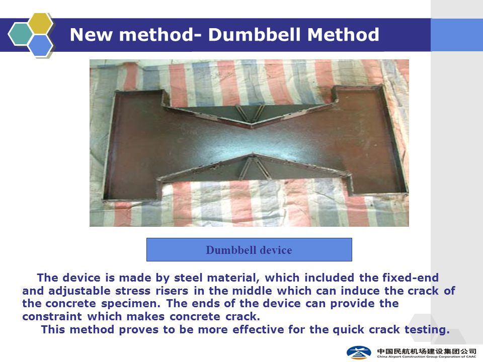New method- Dumbbell Method The device is made by steel material, which included the fixed-end and adjustable stress risers in the middle which can in