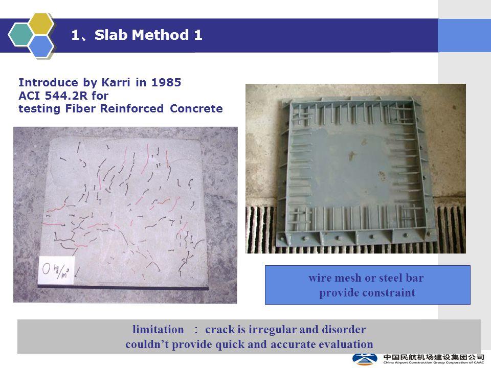 1 、 Slab Method 1 wire mesh or steel bar provide constraint Introduce by Karri in 1985 ACI 544.2R for testing Fiber Reinforced Concrete limitation : c