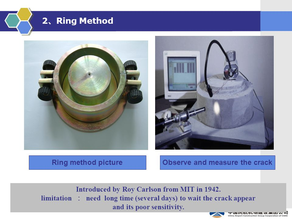 2 、 Ring Method Ring method pictureObserve and measure the crack Introduced by Roy Carlson from MIT in 1942.