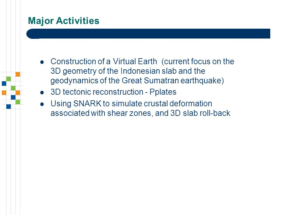 Major Activities Construction of a Virtual Earth (current focus on the 3D geometry of the Indonesian slab and the geodynamics of the Great Sumatran earthquake) 3D tectonic reconstruction - Pplates Using SNARK to simulate crustal deformation associated with shear zones, and 3D slab roll-back