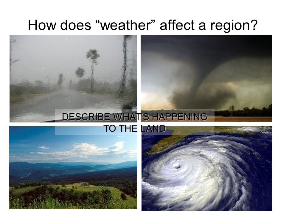 "How does ""weather"" affect a region? DESCRIBE WHAT'S HAPPENING TO THE LAND"