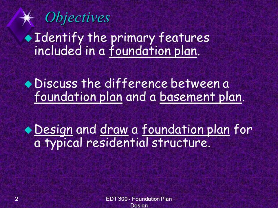 33EDT 300 - Foundation Plan Design Drawing A Foundation Plan u 12.