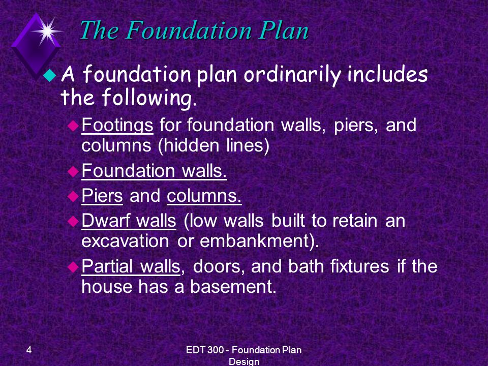 15EDT 300 - Foundation Plan Design Pier and Post Foundations u Many situations in residential construction lend themselves to the use of piers, columns and posts.