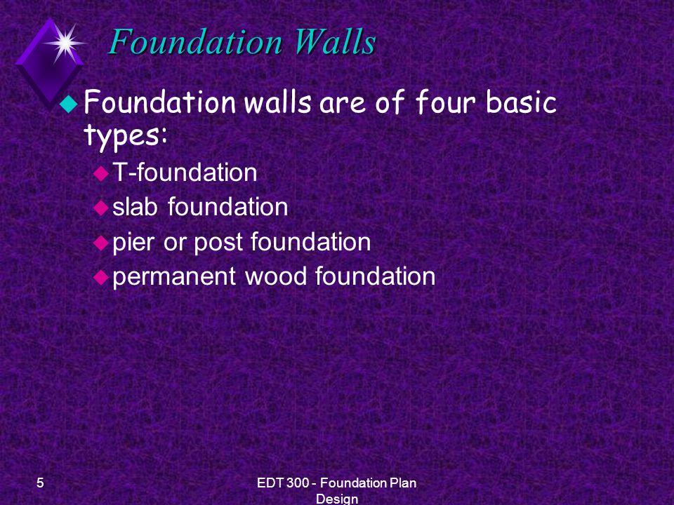 6EDT 300 - Foundation Plan Design Foundation Types