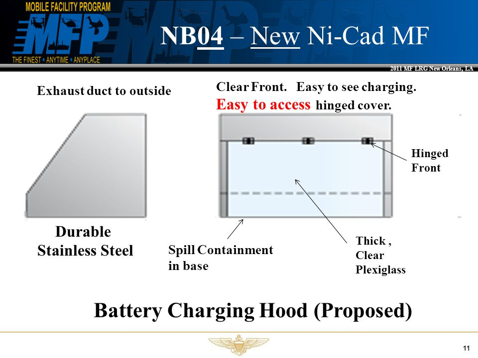 2011 MF LRG New Orleans, LA 11 NB04 – New Ni-Cad MF Durable Stainless Steel Thick, Clear Plexiglass Hinged Front Battery Charging Hood (Proposed) Spill Containment in base Exhaust duct to outside Clear Front.