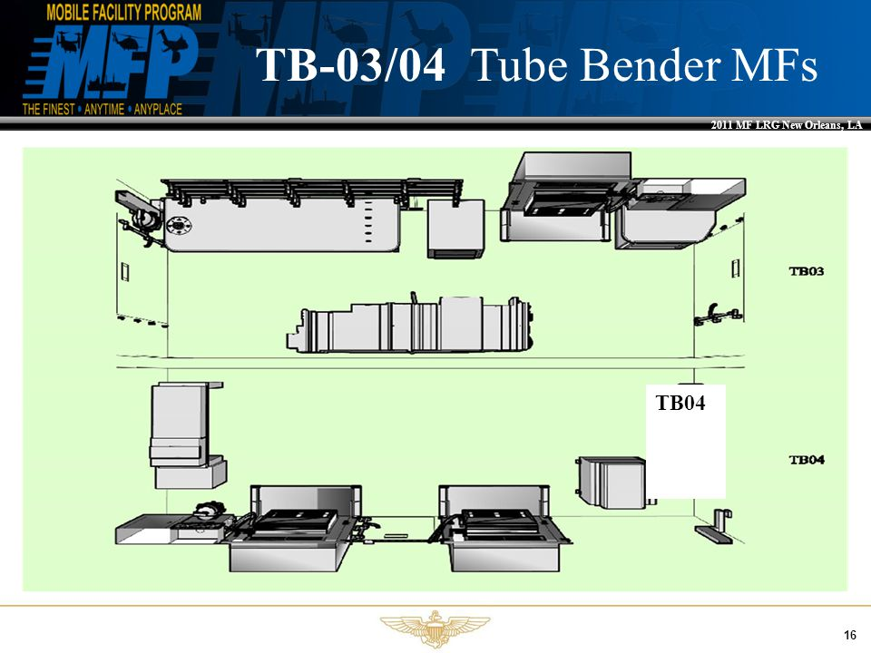 2011 MF LRG New Orleans, LA 16 TB-03/04 Tube Bender MFs TB04