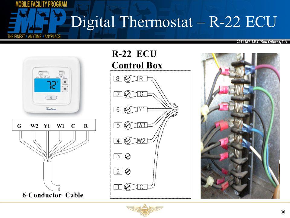 2011 MF LRG New Orleans, LA 30 Digital Thermostat – R-22 ECU R-22 ECU Control Box 6-Conductor Cable