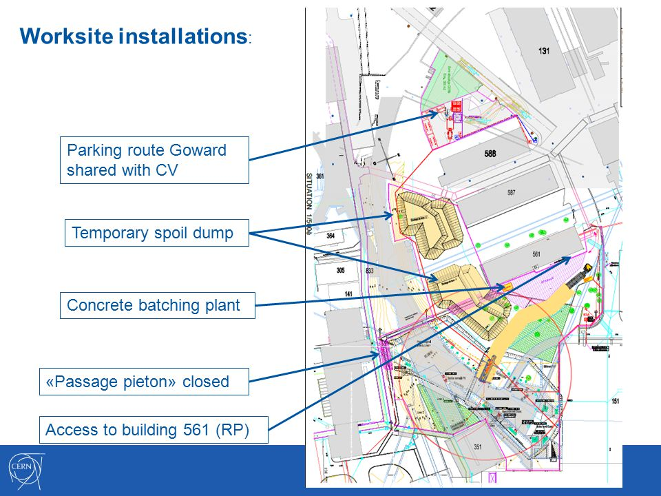 Worksite installations : Parking route Goward shared with CV Concrete batching plant Temporary spoil dump Access to building 561 (RP) «Passage pieton» closed