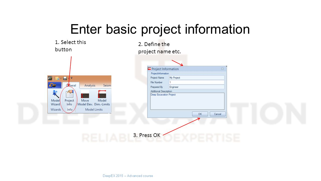 Enter basic project information 1. Select this button 2.