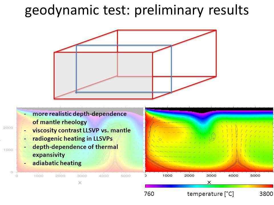 geodynamic test: preliminary results 760 temperature [°C] 3800 -more realistic depth-dependence of mantle rheology -viscosity contrast LLSVP vs. mantl