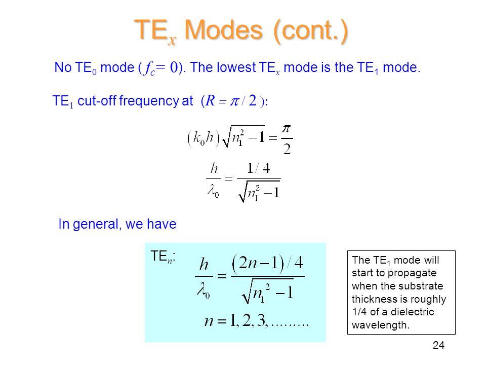 TE x Modes (cont.) No TE 0 mode ( f c = 0 ). The lowest TE x mode is the TE 1 mode.