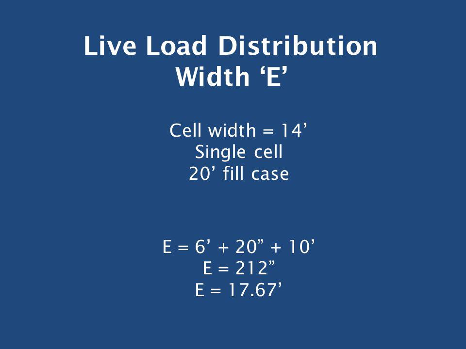 Live Load Distribution Width 'E' Cell width = 14' Single cell 20' fill case E = 6' + 20 + 10' E = 212 E = 17.67'