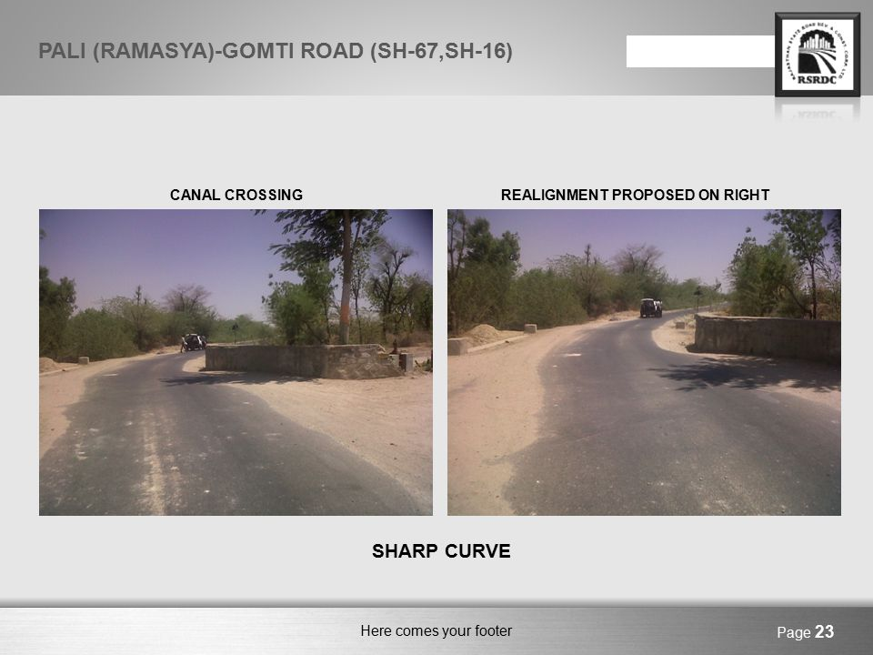 Here comes your footer FIRST VILLAGE ON THE ALIGNMENT- HEMAWAS EARTHEN BUND ON LEFTHABITATIONON RIGHT SIDE ONLY Page 24 PALI (RAMASYA)-GOMTI ROAD (SH-67,SH-16)