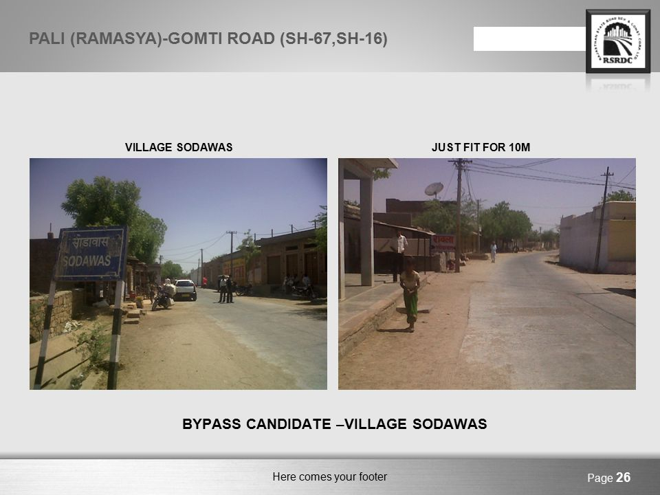 Here comes your footer BYPASS CANDIDATE – VILLAGE BUSSI VILLAGE BUSSI – BYPASS CANDIDATEVILLAGE BUSSI – FROM INSIDE Page 27 PALI (RAMASYA)-GOMTI ROAD (SH-67,SH-16)