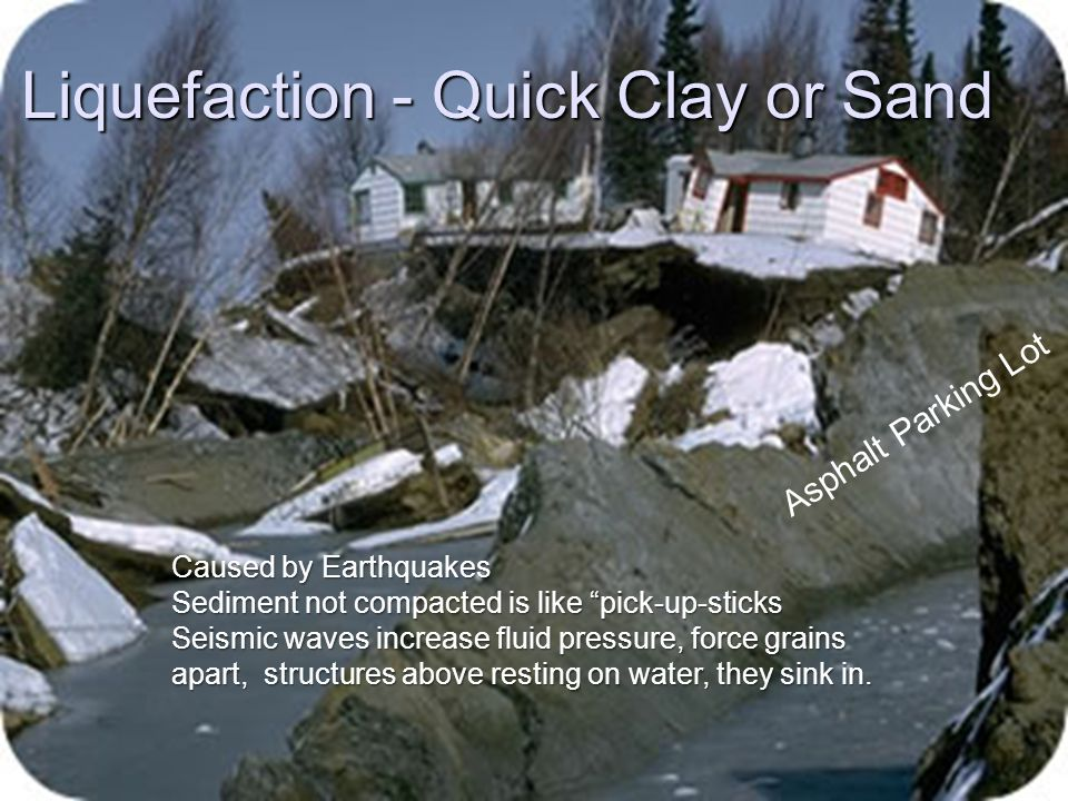 """Liquefaction - Quick Clay or Sand Asphalt Parking Lot Caused by Earthquakes Sediment not compacted is like """"pick-up-sticks Seismic waves increase flui"""