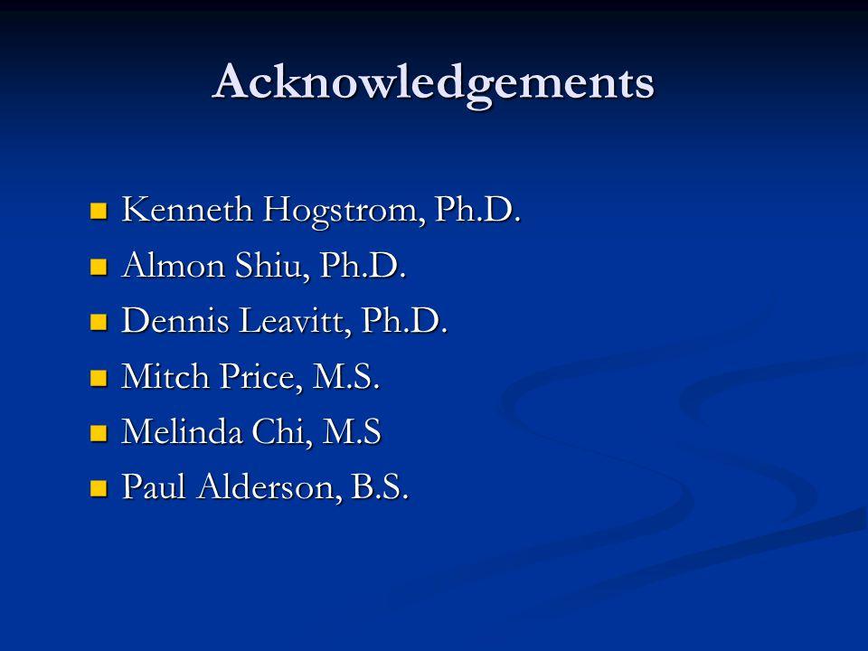 Acknowledgements Kenneth Hogstrom, Ph.D. Kenneth Hogstrom, Ph.D. Almon Shiu, Ph.D. Almon Shiu, Ph.D. Dennis Leavitt, Ph.D. Dennis Leavitt, Ph.D. Mitch
