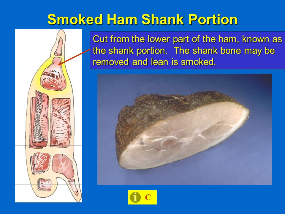Smoked Ham Shank Portion C Cut from the lower part of the ham, known as the shank portion.