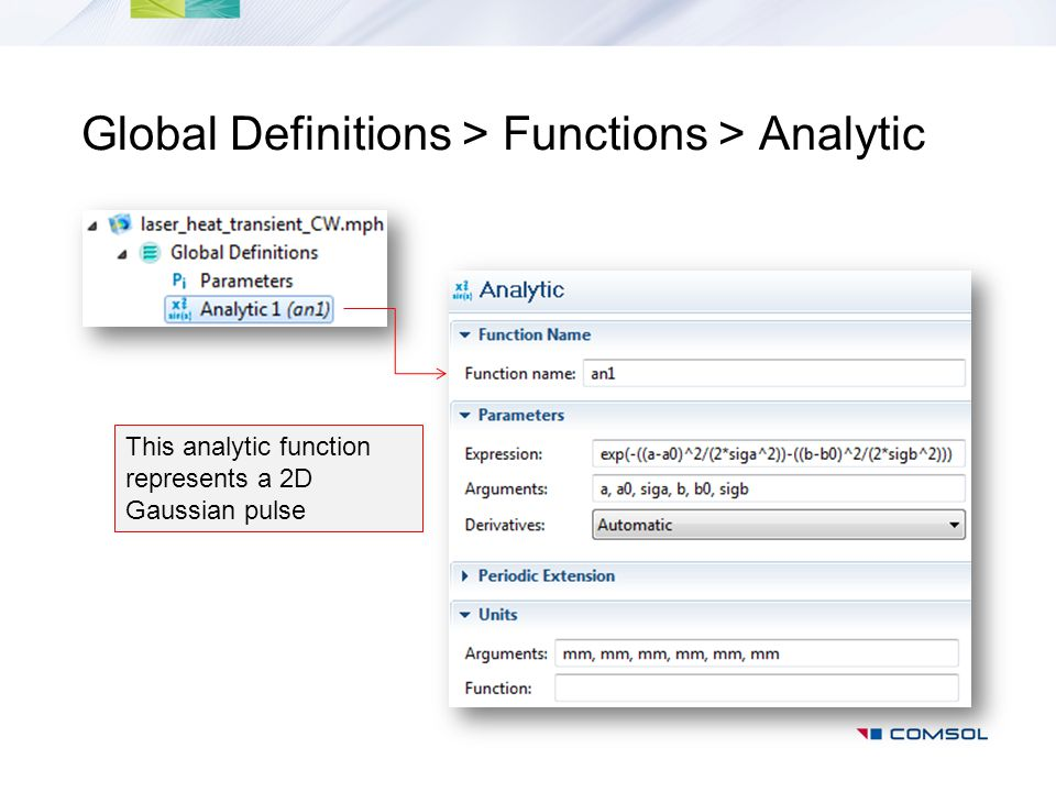 Global Definitions > Functions > Analytic This analytic function represents a 2D Gaussian pulse