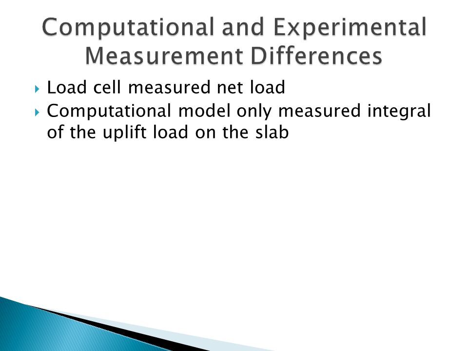  Load cell measured net load  Computational model only measured integral of the uplift load on the slab