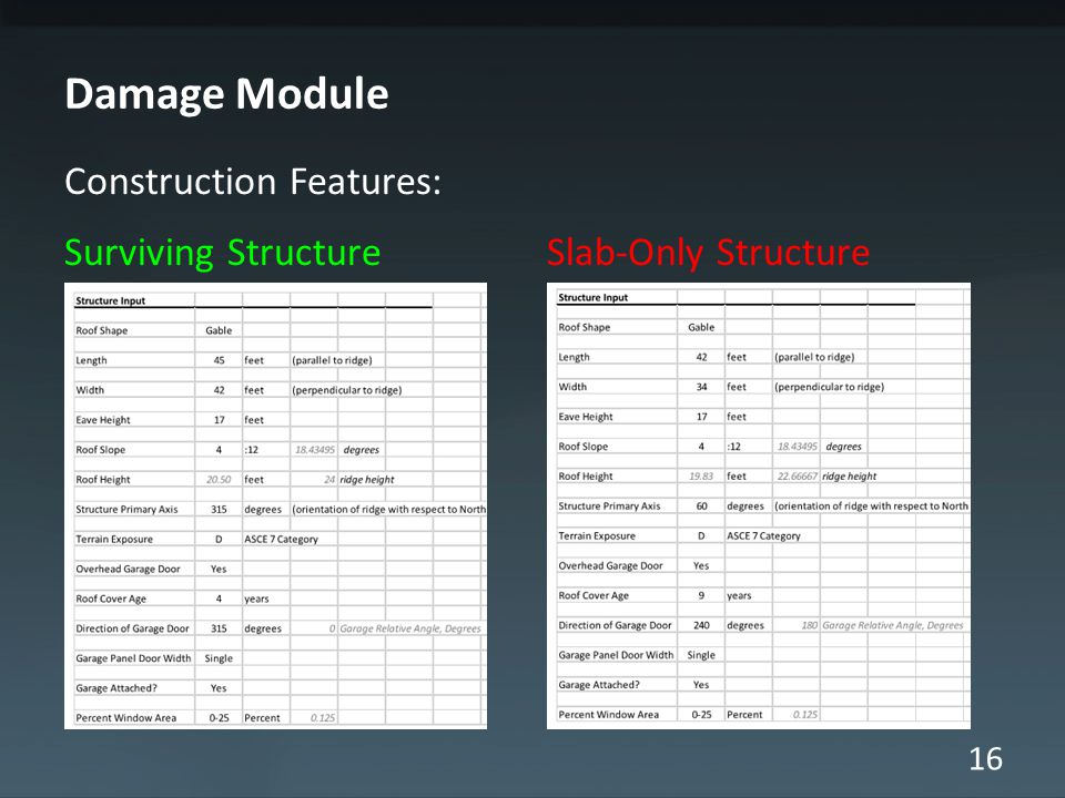 16 Damage Module Construction Features: Surviving Structure Slab-Only Structure