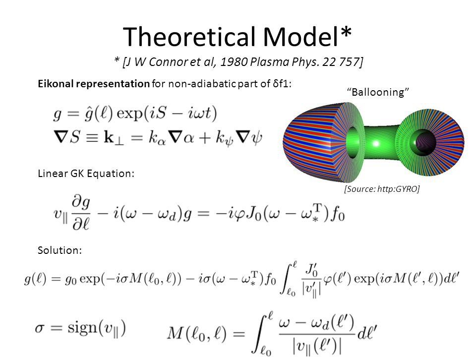 Theoretical Model* * [J W Connor et al, 1980 Plasma Phys.