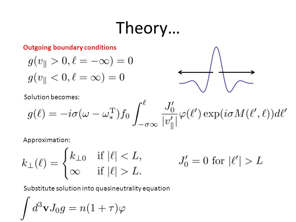 Theory… Outgoing boundary conditions Approximation: Solution becomes: Substitute solution into quasineutrality equation