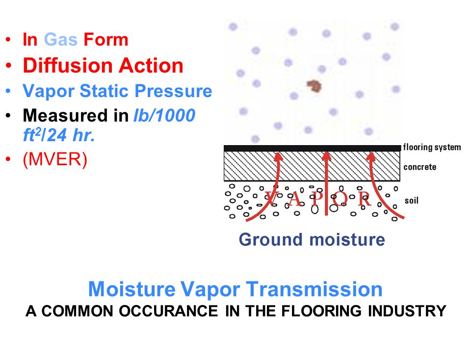 DIFFERENCES BETWEEN GAS FORM & LIQUID FORM Vapor Emission (GAS) Pressures: Humid gas passing through the capillaries of the concrete with minimal pressure, very little water, and will dry out when surface is not covered.
