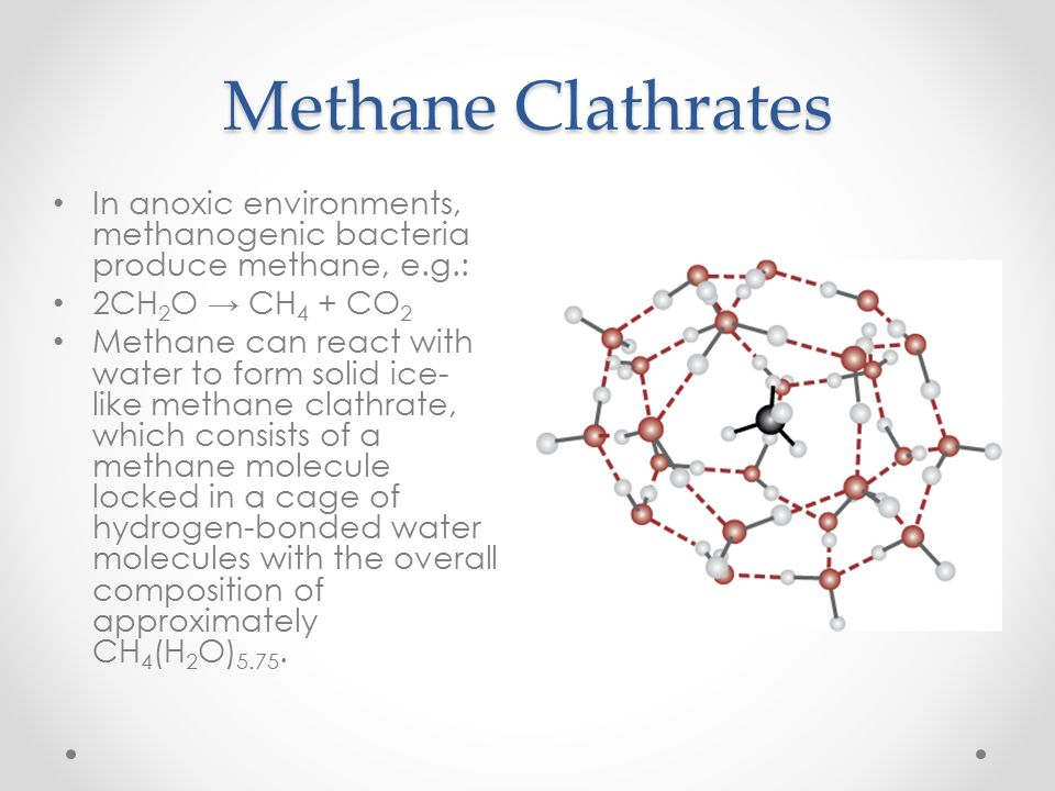 Methane Clathrates In anoxic environments, methanogenic bacteria produce methane, e.g.: 2CH 2 O → CH 4 + CO 2 Methane can react with water to form sol
