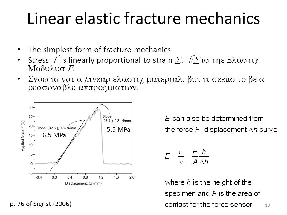 Linear elastic fracture mechanics The simplest form of fracture mechanics Stress  is linearly proportional to strain .
