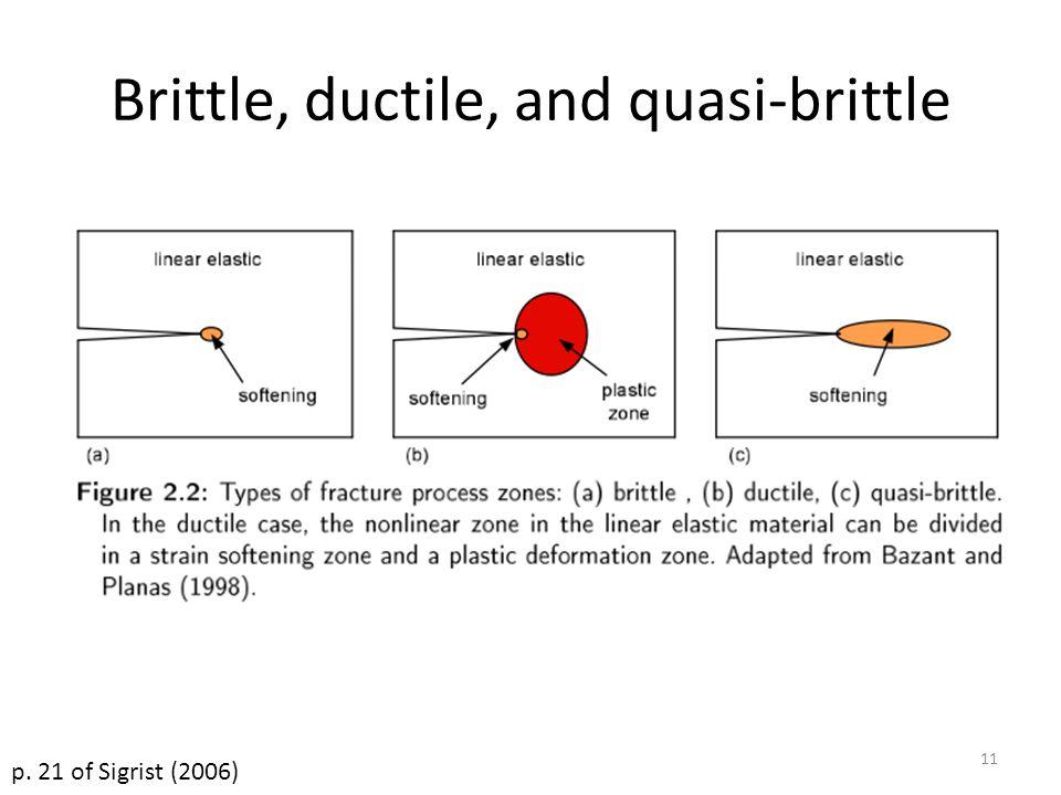 Brittle, ductile, and quasi-brittle p. 21 of Sigrist (2006) 11