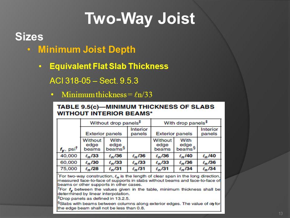 Two-Way Joist Sizes Minimum Joist Depth Equivalent Flat Slab Thickness ACI 318-05 – Sect. 9.5.3 Minimum thickness = n/33 13