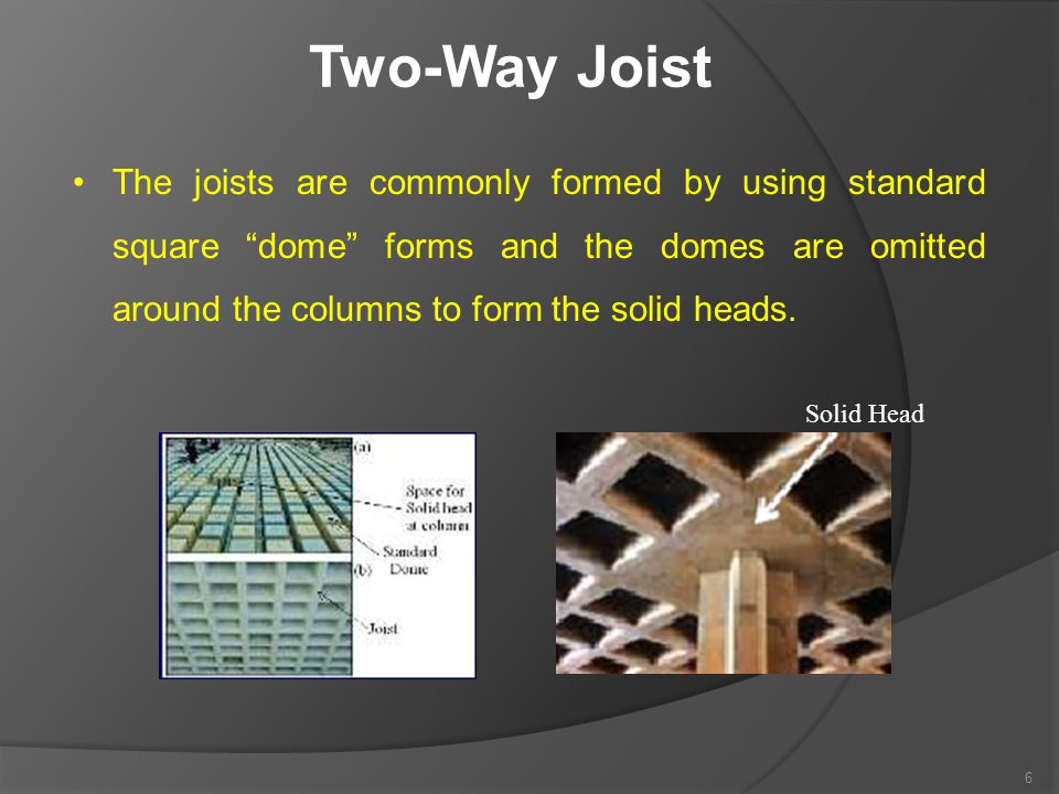 """Two-Way Joist The joists are commonly formed by using standard square """"dome"""" forms and the domes are omitted around the columns to form the solid head"""