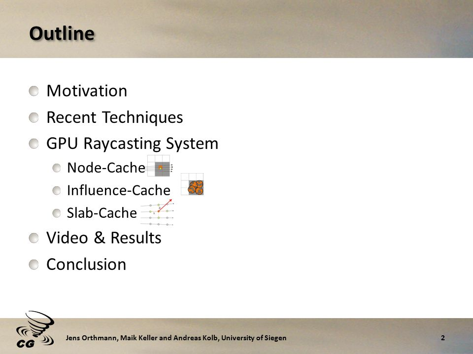 Outline Motivation Recent Techniques GPU Raycasting System Node-Cache Influence-Cache Slab-Cache Video & Results Conclusion 2Jens Orthmann, Maik Keller and Andreas Kolb, University of Siegen