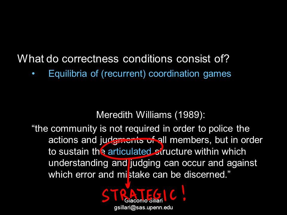 Giacomo Sillari gsillari@sas.upenn.edu What do correctness conditions consist of.